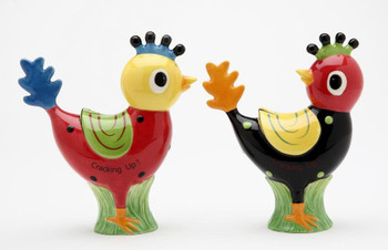 Two Happy Chick Birds Ceramic Salt and Pepper Shakers, Set of 4