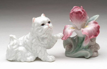 Persian Cat and Flower Porcelain Salt and Pepper Shakers, Set of 4