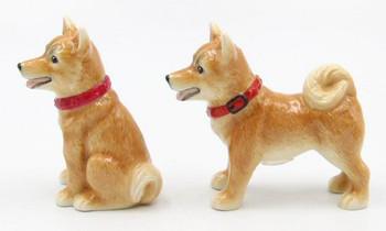Shiba Inu Dogs Porcelain Salt and Pepper Shakers, Set of 4