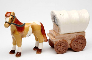 Horse and Wagon Porcelain Salt and Pepper Shakers, Set of 4
