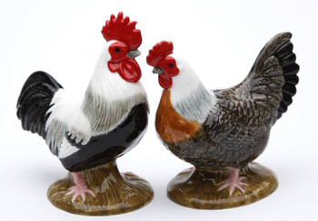 Fancy Rooster Bird Porcelain Salt and Pepper Shakers, Set of 4