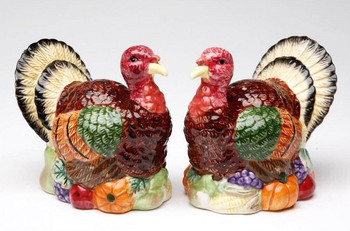 Turkey Bird Porcelain Salt and Pepper Shakers, Set of 4