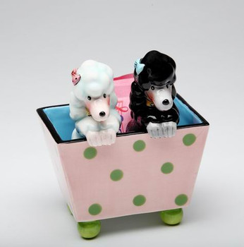 Two Dogs in a Box Ceramic Salt and Pepper Shakers by Babs, Set of 4