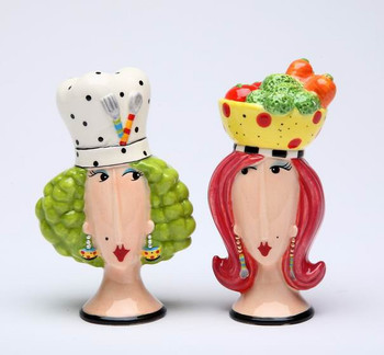 Dollymama's Lady Chef's Ceramic Salt and Pepper Shakers, Set of 4