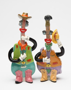 Mandolin and Guitar Salt and Pepper Shakers by Ed Sussman, Set of 4