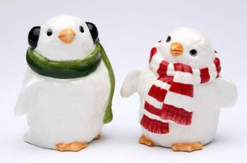 Penguin Couple Porcelain Salt and Pepper Shakers, Set of 4