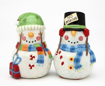 No Peeking Snowman Ceramic Salt and Pepper Shakers, Set of 4