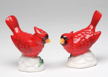 Cardinal Bird Porcelain Salt and Pepper Shakers, Set of 4