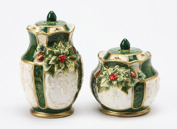 Holly Porcelain Salt and Pepper Shakers, Set of 4