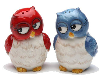 Christmas Owl Couple Salt & Pepper Shakers by Laurie Furnell, Set of 4