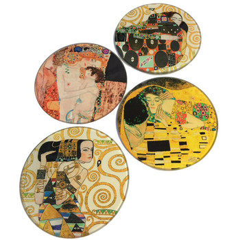 Klimt Paintings Glass Drink Coasters with Metal Holder, Set of 4