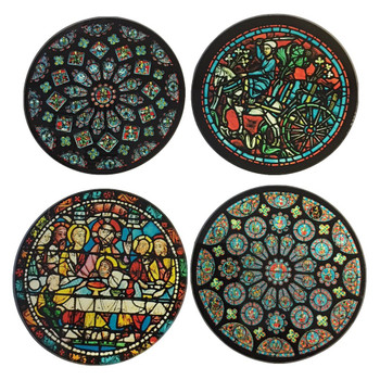 Chartres Cathedral Windows Glass Drink Coasters with Metal Holder, Set of 4