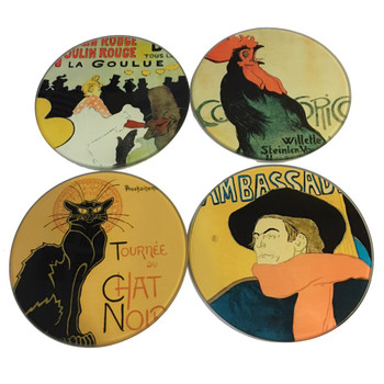 Parisian Posters Lautrec Steinlen Belle Epoque Glass Drink Coasters with Metal Holder, Set of 4