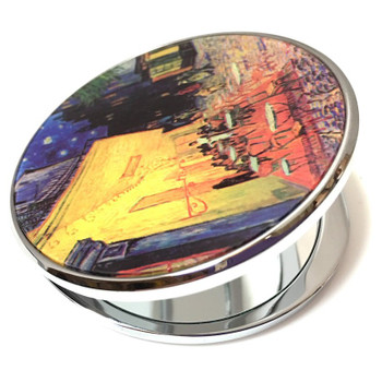 Cafe Terrace at Night Portable Folding Cosmetic Compact Mirror by Van Gogh