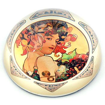 Lady Holding Fruit 1897 Glass Paperweight by Alphonse Mucha