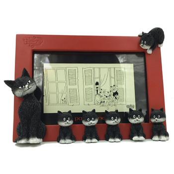 Cats in a Line Mama Kitty with Kittens Red Picture Frame by Dubout
