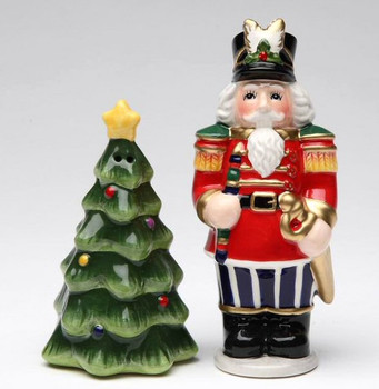 Nutcracker and Tree Porcelain Salt and Pepper Shakers, Set of 4