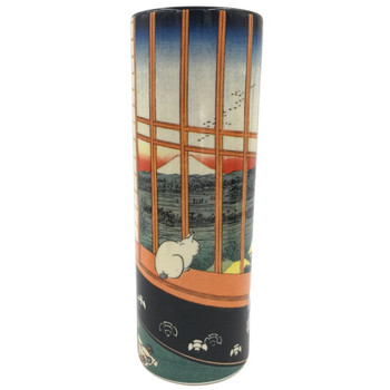 Cat Sees Mount Fuji Japanese Bud Flower Ceramic Vase by Hiroshige