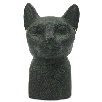 Small Egyptian Bastet Cat Bust with Earrings and Solar Disc Statue