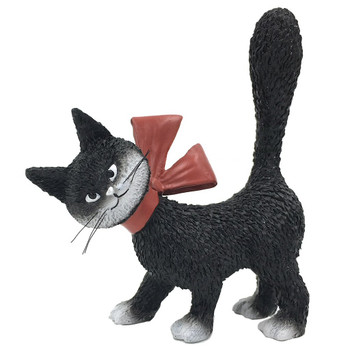 Cat La Minette Black So Cute with Red Bow and Tail Up Cat Statue by Dubout