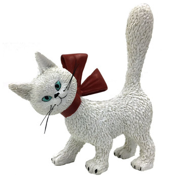 Cat La Minette White So Cute with Red Bow and Tail Up Cat Statue by Dubout