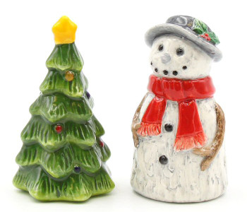Snowman and Christmas Tree Porcelain Salt & Pepper Shakers, Set of 4