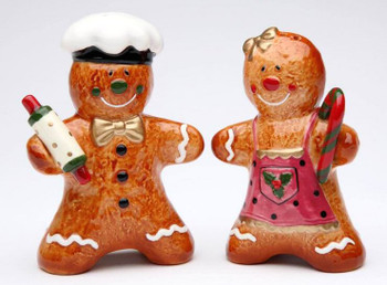 Gingerbread Couple Porcelain Salt and Pepper Shakers, Set of 4