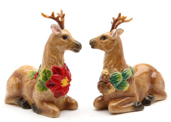 Holiday Reindeer Porcelain Salt and Pepper Shakers, Set of 4