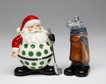 Golf Santa with Golf Bag Ceramic Salt and Pepper Shakers, Set of 4