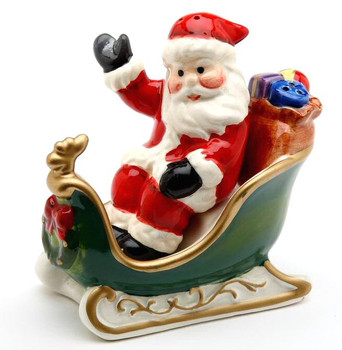 Santa in His Sleigh Porcelain Salt and Pepper Shakers, Set of 4