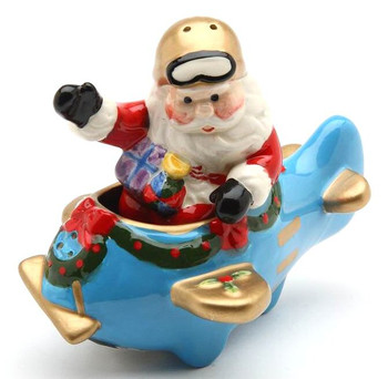 Santa in a Plane Porcelain Salt and Pepper Shakers, Set of 4