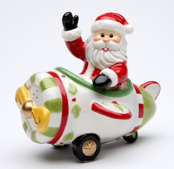 Santa Flying a Plane Salt & Pepper Shakers by Laurie Furnell, Set of 4