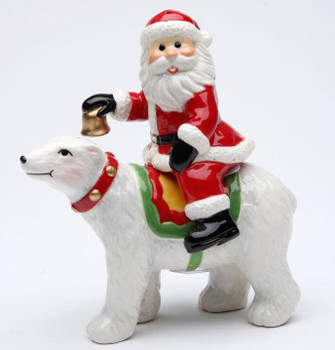 Santa Riding Polar Bear Salt and Pepper Shakers by L Furnell, Set of 4