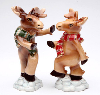 Moose Porcelain Salt and Pepper Shakers, Set of 4