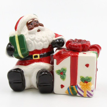 African American Santa with a Gift Salt & Pepper Shakers, Set of 4