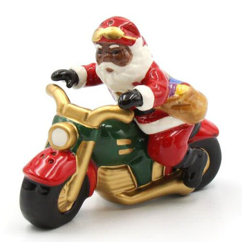 Black Santa Riding a Motorcycle Salt & Pepper Shakers, Set of 4