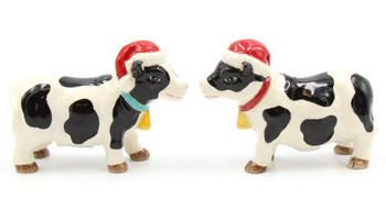 Christmas Cows Porcelain Salt and Pepper Shakers, Set of 4