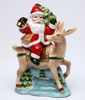 Santa Riding His Reindeer Porcelain Salt and Pepper Shakers, Set of 4
