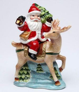 Santa Riding His Reindeer Porcelain Salt and Pepper Shakers, Set of 4
