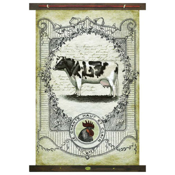 Custom Dairy Cow Je Chante Haut Et Clair Rooster Canvas Tapestry