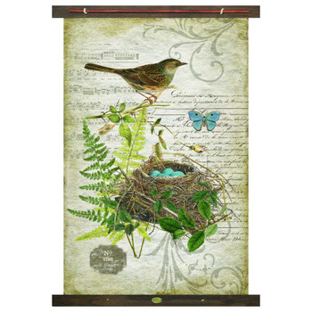 Custom Bird with Nest and Eggs Canvas Tapestry