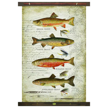 Custom Assorted Trout Fish Brook Tahoe Sunapee Steelhead Canvas Tapestry