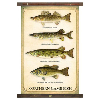 Custom Northern Game Fish Walleye Northern Pike Muskellunge Largemouth Bass Canvas Tapestry