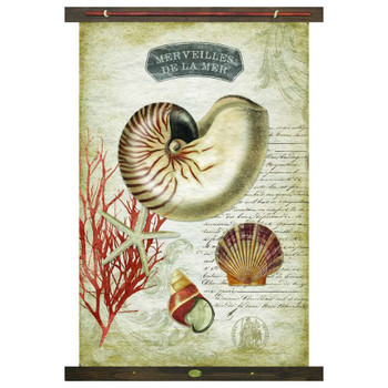 Custom Merveilles De La Mer Shells Canvas Tapestry