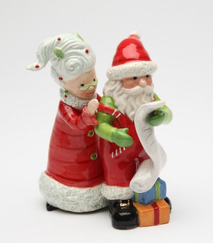 Mrs. Claus and Santa Claus Ceramic Salt and Pepper Shakers, Set of 4