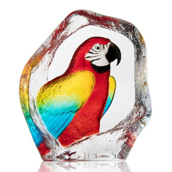 Parrot Bird Painted Etched Crystal Sculpture by Mats Jonasson