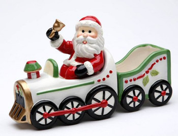 Santa Driving a Train Salt and Pepper Shakers by L Furnell, Set of 4
