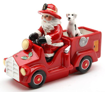 Santa on a Fire Truck Porcelain Salt and Pepper Shakers, Set of 4