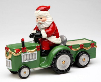 Santa on a Tractor Porcelain Salt and Pepper Shakers, Set of 4