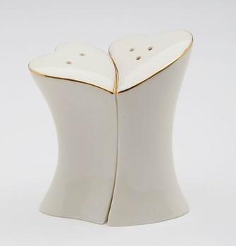 Jade Porcelain Hearts Ceramic Salt and Pepper Shakers, Set of 4
